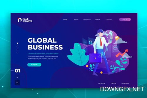 Global Business Web PSD and AI Vector Template