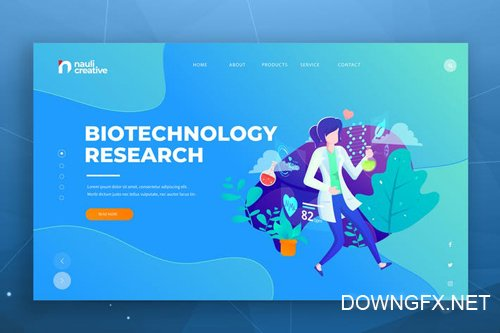 Biotechnology Web PSD and AI Vector Template