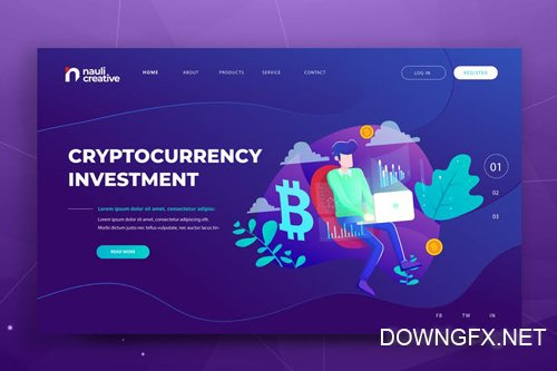 Cryptocurrency Web PSD and AI Vector Template