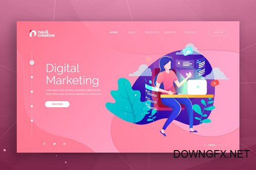 Digital Marketing Web PSD and AI Vector Template