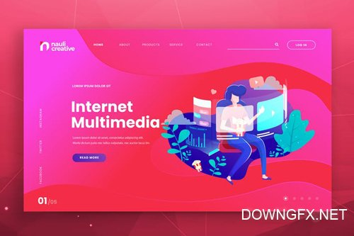 Internet Multimedia Web PSD and AI Vector Template
