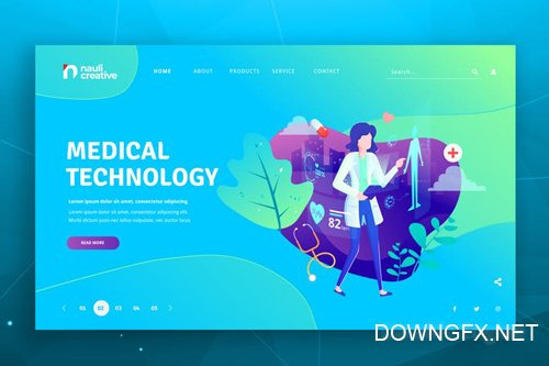 Medical Technology Web PSD and AI Vector Template