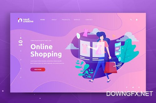 Online Shopping Web PSD and AI Vector Template