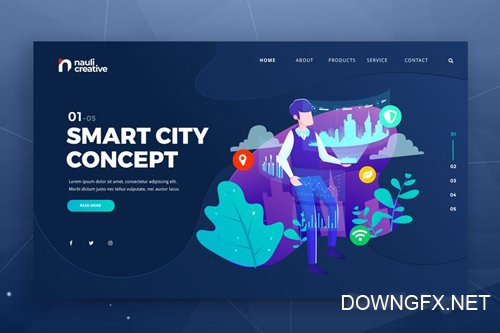 Smart City Concept Web PSD and AI Vector Template