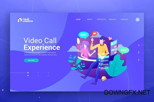 Video Call Experience Web PSD and AI Vector