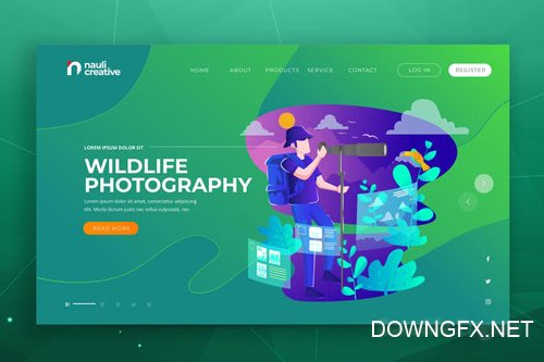 Wildlife Photography Web PSD and AI Vector