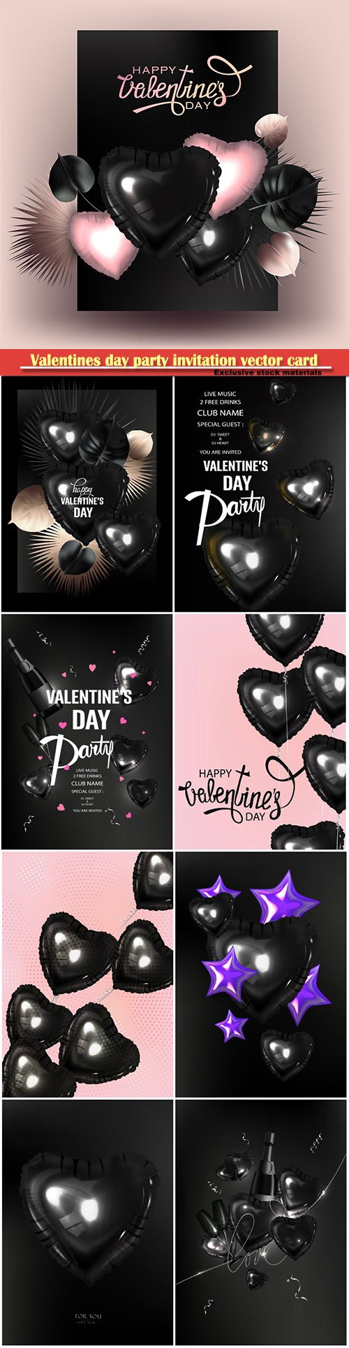 Valentines day party invitation vector card # 2