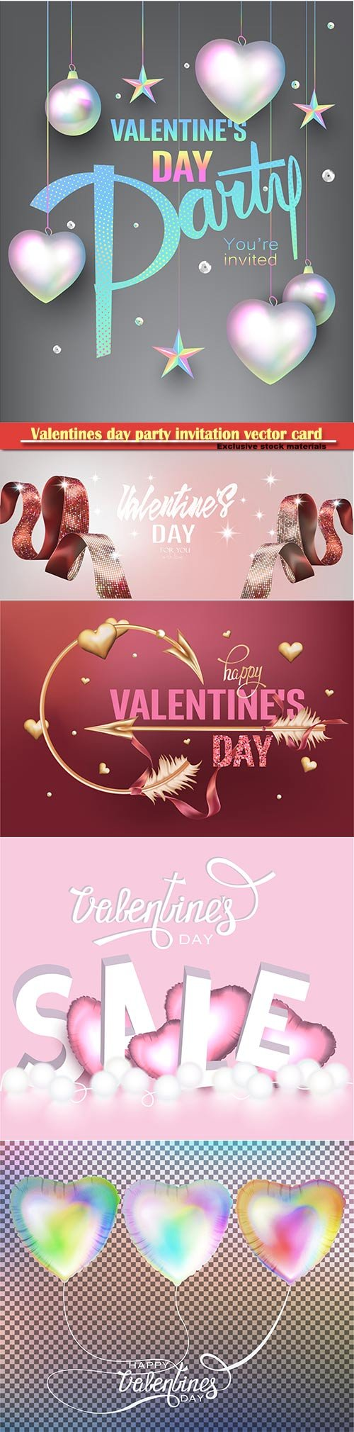 Valentines day party invitation vector card # 8