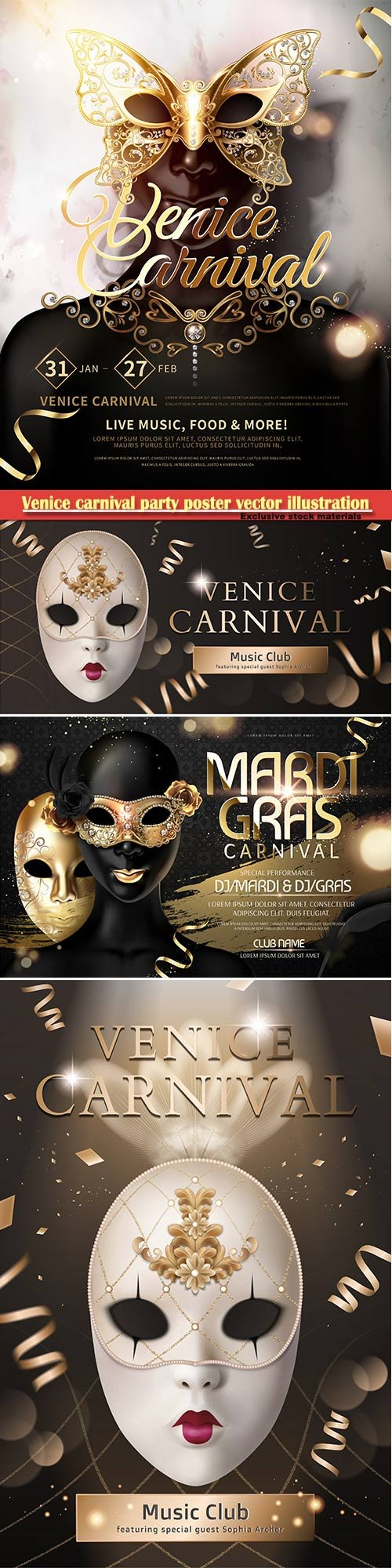 Venice carnival design vector illustration, Mardi gras # 3