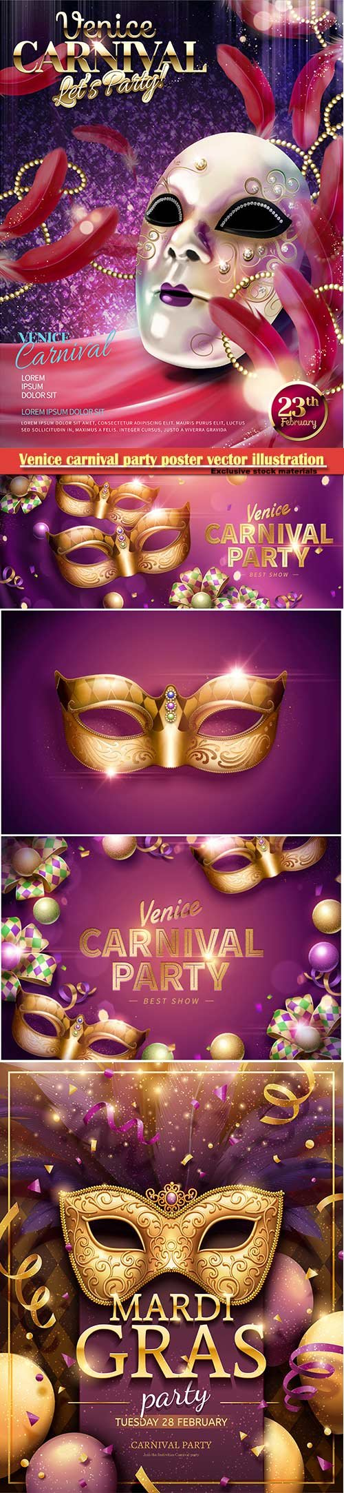 Venice carnival design vector illustration, Mardi gras # 2