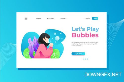 Play Bubbles Landing Page Illustration