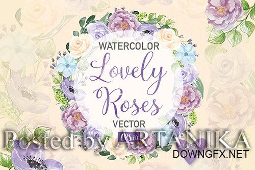 Watercolor Rose Anemone wreath clipart