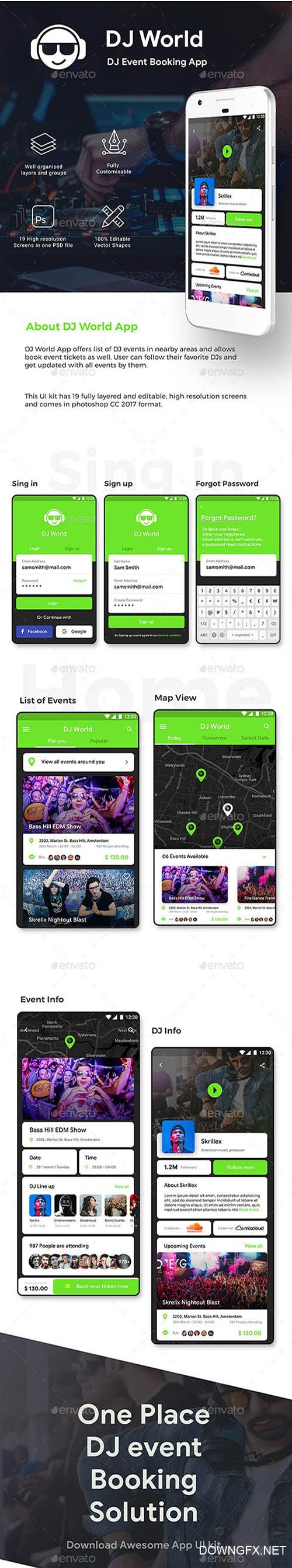 GR - DJ Event Booking App UI Kit | DJ World 23268079