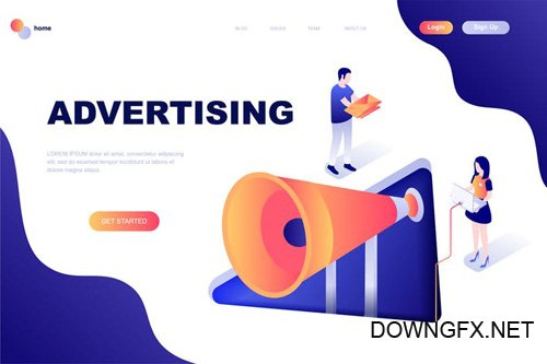 Advertising Isometric Landing Page Template