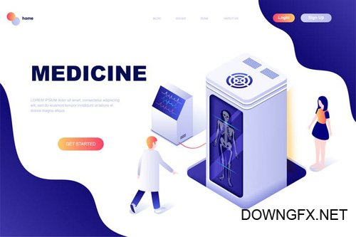 Medicine Isometric Landing Page Template