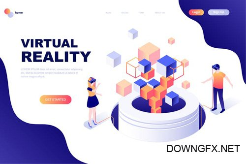 Virtual Reality Isometric Landing Page Template