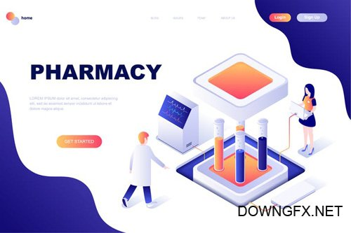 Pharmacy Isometric Landing Page Template