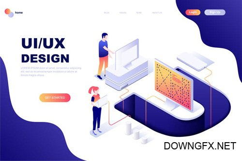 UX / UI Design Isometric Landing Page Template