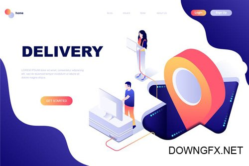 Worldwide Delivery Isometric Landing Page Template