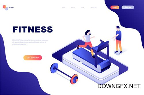 Fitness Isometric Landing Page Template
