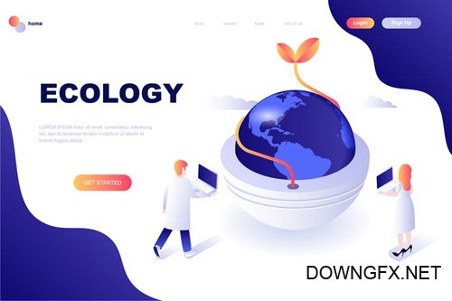 Ecology Earth Isometric Landing Page Template