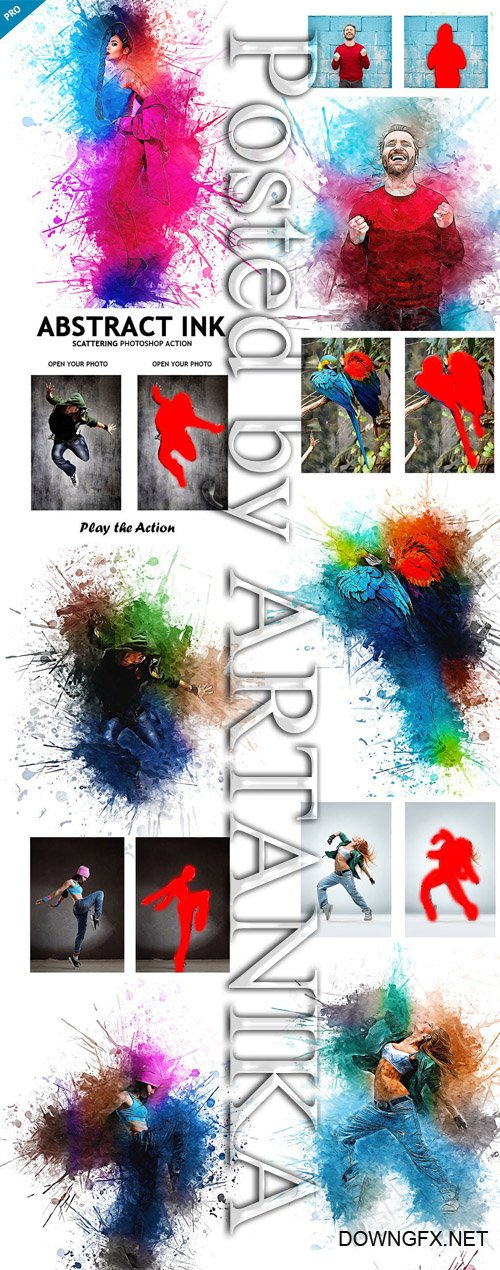 GraphicRiver - Abstract Ink Scattering Photoshop Action 23158410