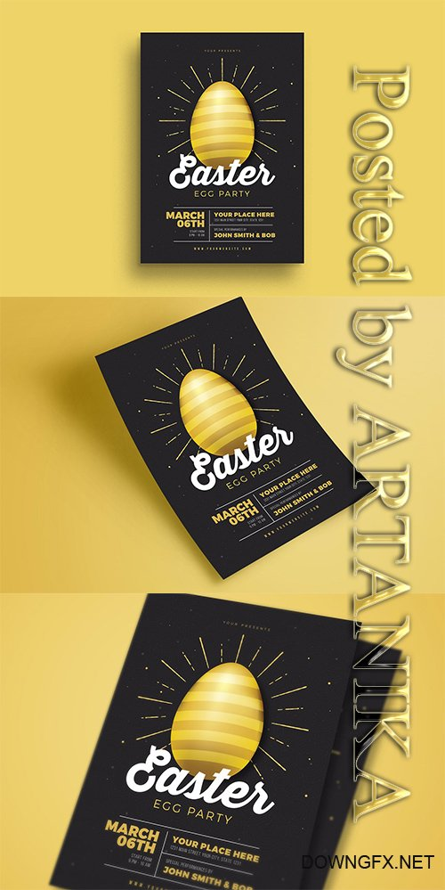 CreativeMarket - Easter Gold Party Flyer 2349316
