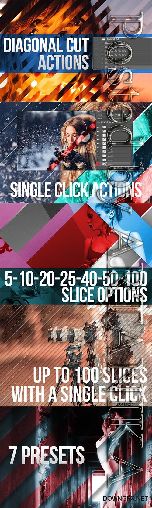 CreativeMarket - Diagonal Cut Actions for Photoshop 2291690