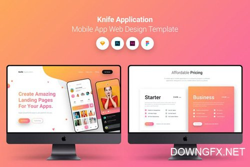 Knife Application Mobile App Landing Page Temlate
