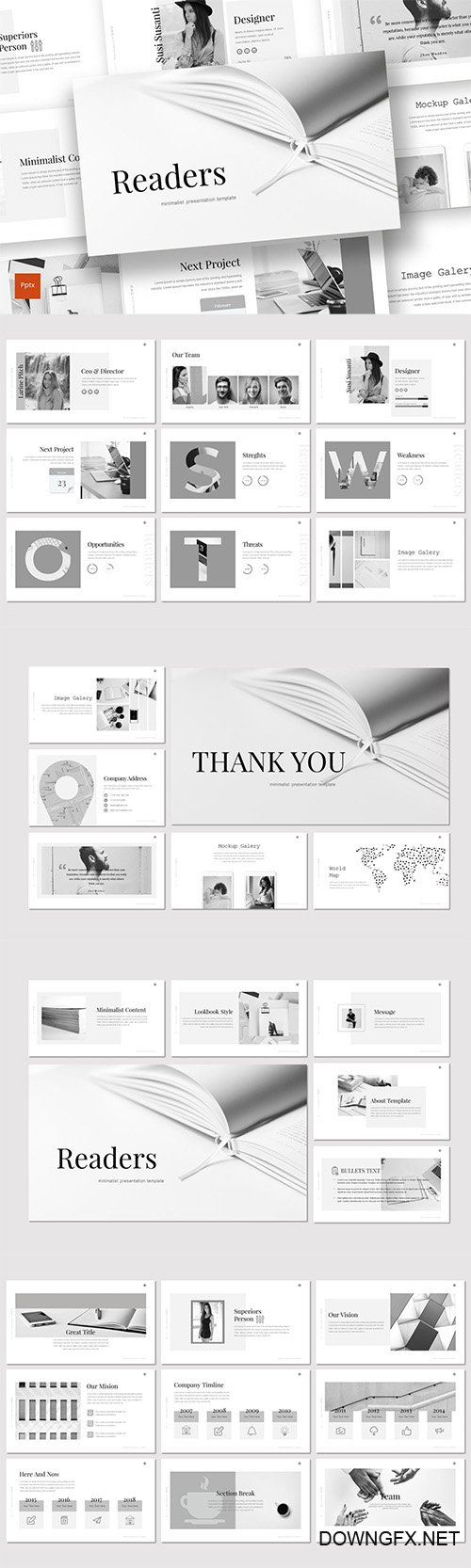 Readers - Powerpoint Keynote and Google Slides Templates