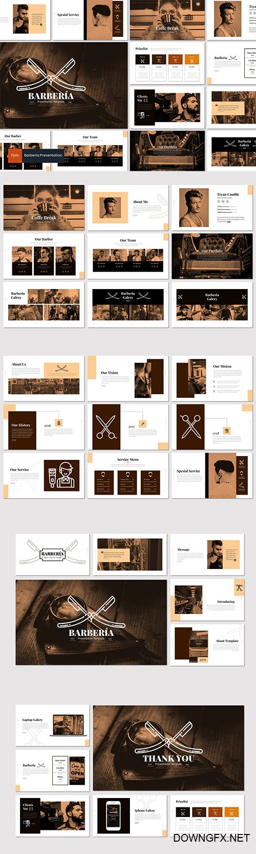 Barberia - Powerpoint Keynote and Google Slides Templates