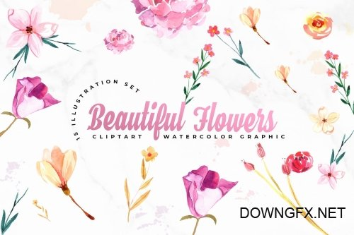 15 Watercolor Flowers Set Illustration