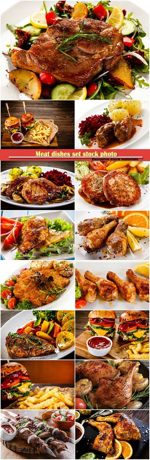 Meat dishes set stock photo