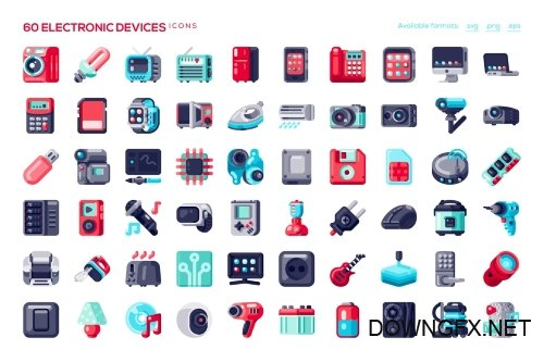 60 Electronic Devices Icons