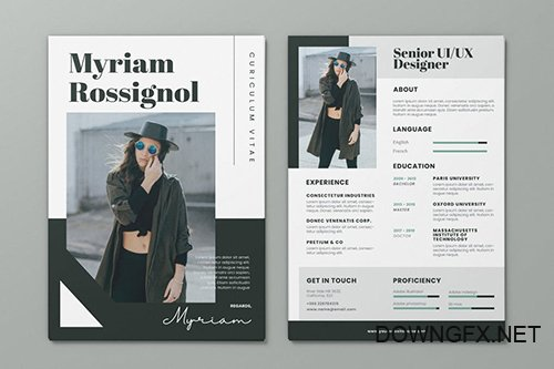 Clean Minimalist CV Resume AI and PSD Flyer Vol.35