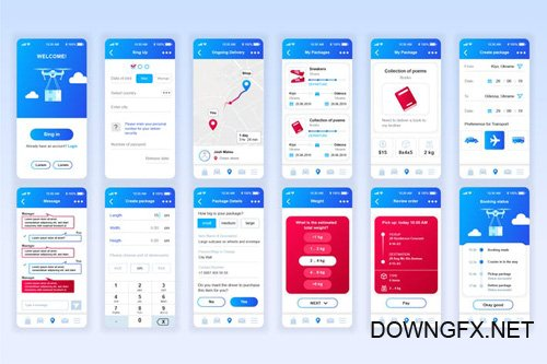 Delivery Mobile App UX and UI Kit