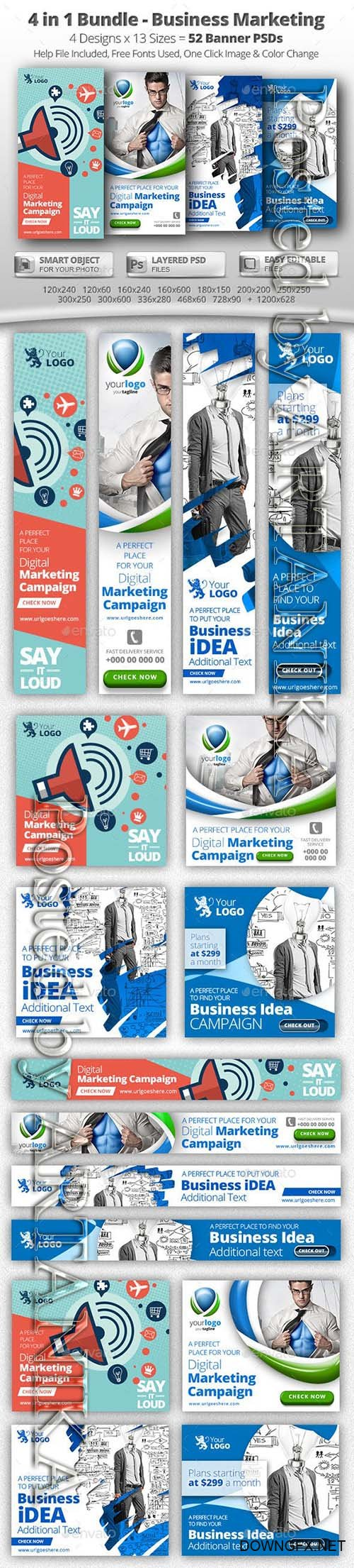 GraphicRiver - 52 Business Marketing Web Banners - 4 in 1 Bundle 11964657