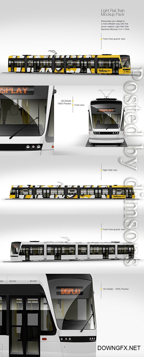 Light Rail Train Mockup Pack TIF