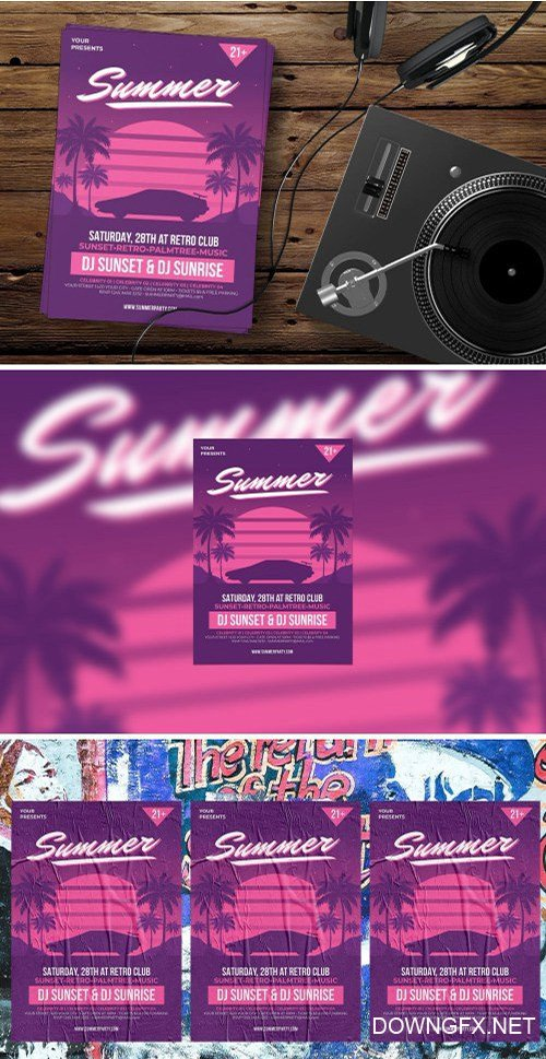 Retro Summer Party PSD