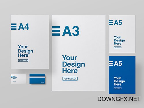 PSDT Stationery on a Gray Background Mockup 259195292
