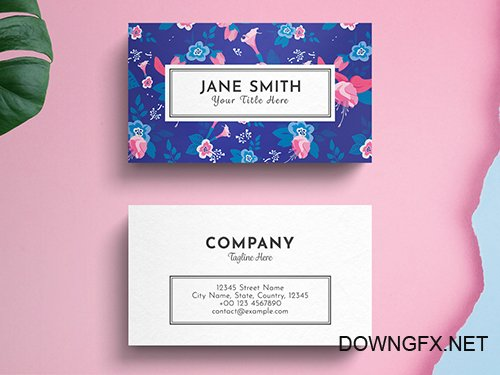 PSDT Floral Business Card Layout on Blue Background 260560429
