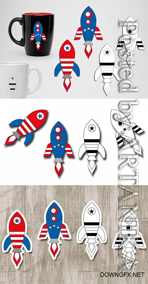 Designbundles - Rockets 4th of July graphics illustrations