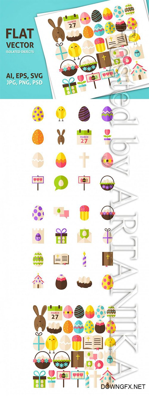 Designbundles - Happy Easter Vector Isolated Objects