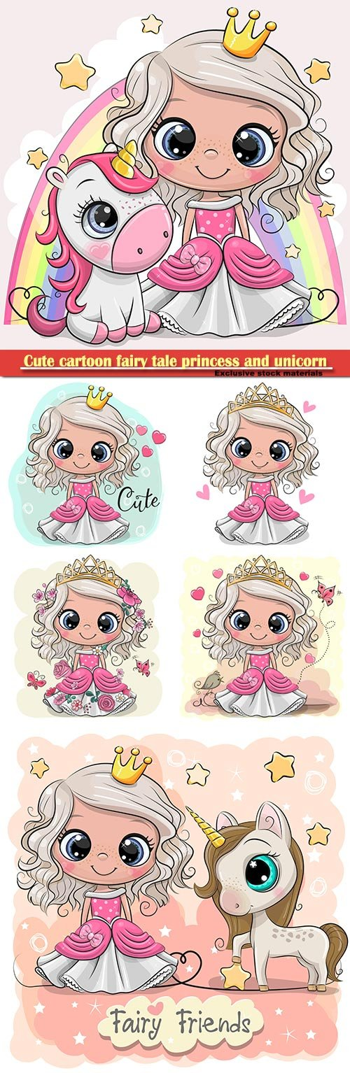 Cute cartoon fairy tale princess and unicorn