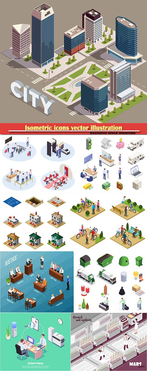 Isometric icons vector illustration, banner design template # 41