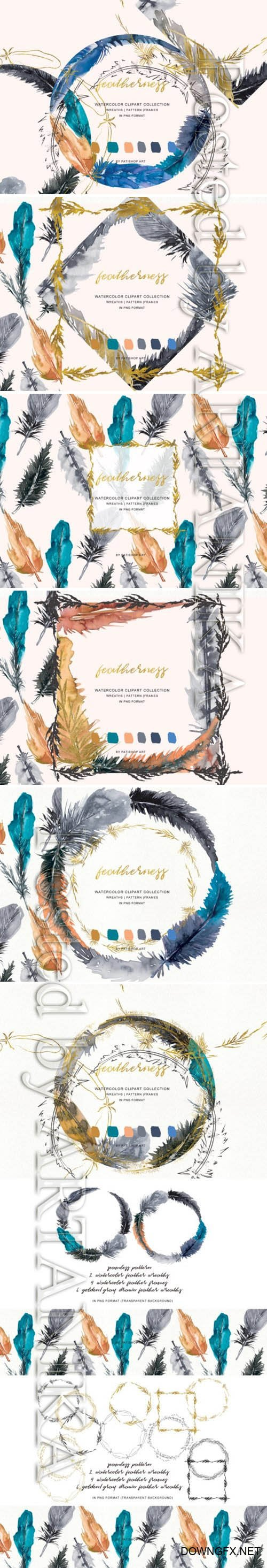 CM - Watercolor Feather Wreath and Frames 3737001