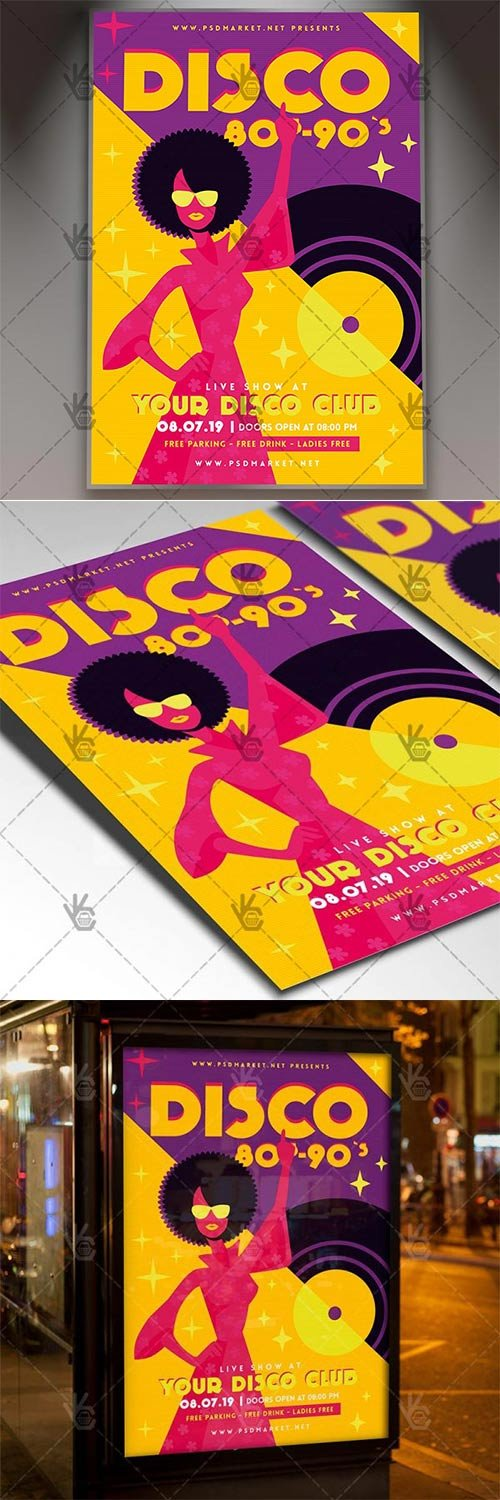 Disco 80s-90s ? Club Flyer PSD Template