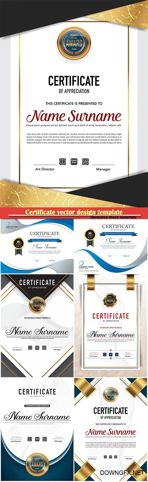Certificate and vector diploma design template # 75