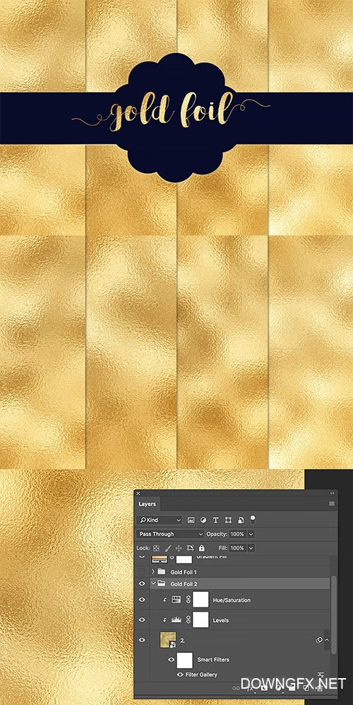 4 Gold Foil Textures Pack