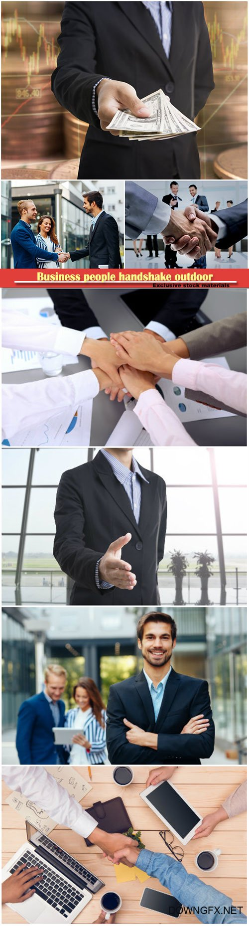Business people handshake outdoor, bank employees